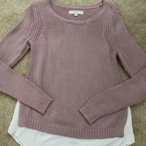 Loft Lavender Sweater with white trim